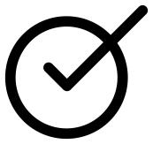 Bürokratischer Weg: Kreis mit Häkchen (Checkmark, ✓)