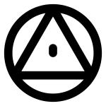 """Weg der Weisheit: Kreis mit Dreieck und Punkt in der Mitte als Andeutung des """"Allsehenden Auges"""""""